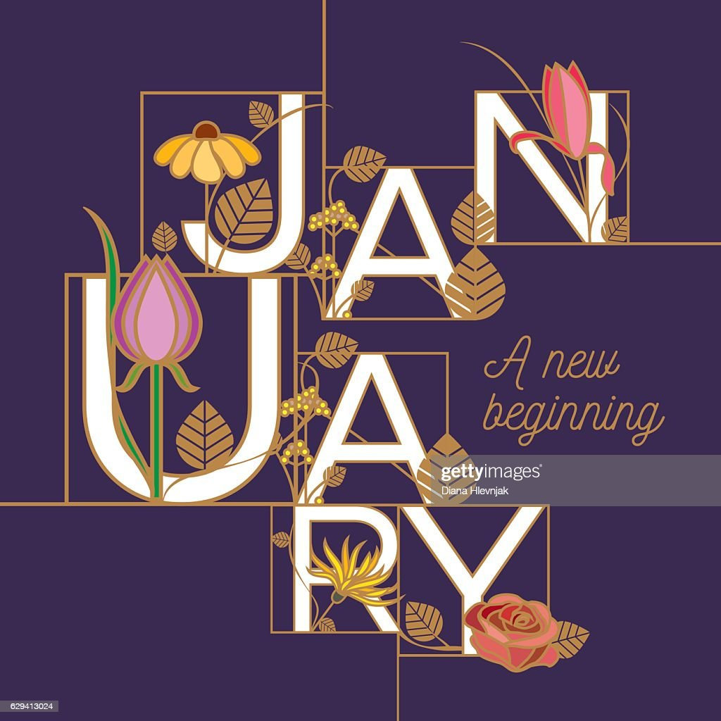 January month typographic design template