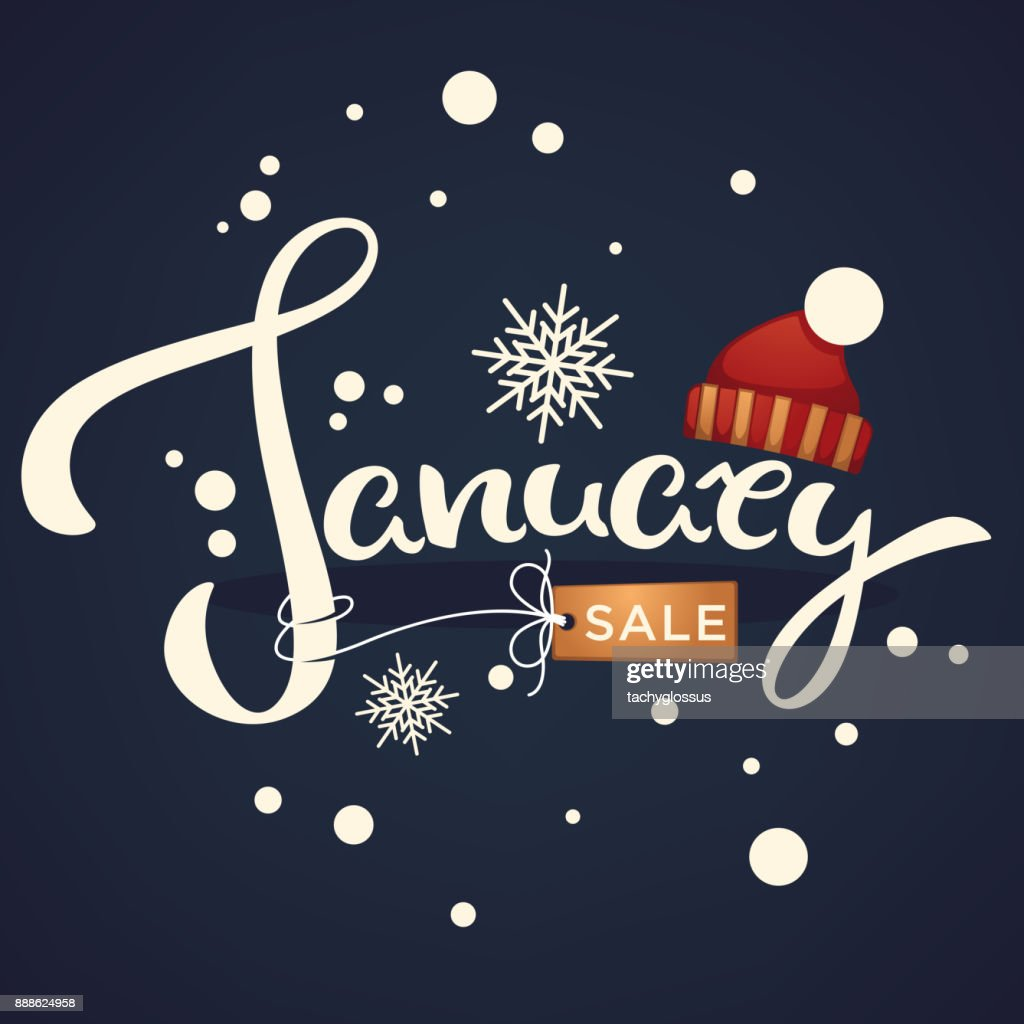 January sale, knitted hat  and snowflakes lettering composition flyer or banner template on dark background