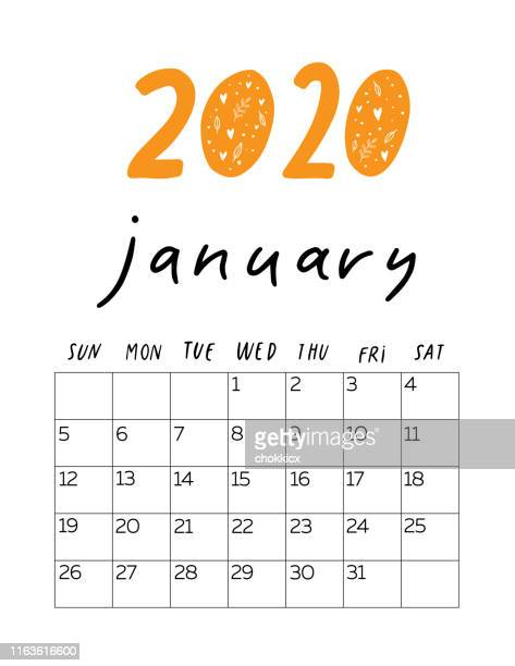 2020 january - 2019 2020 calendar stock illustrations