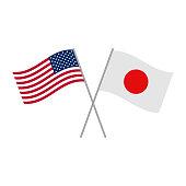 Japan and USA flag vector