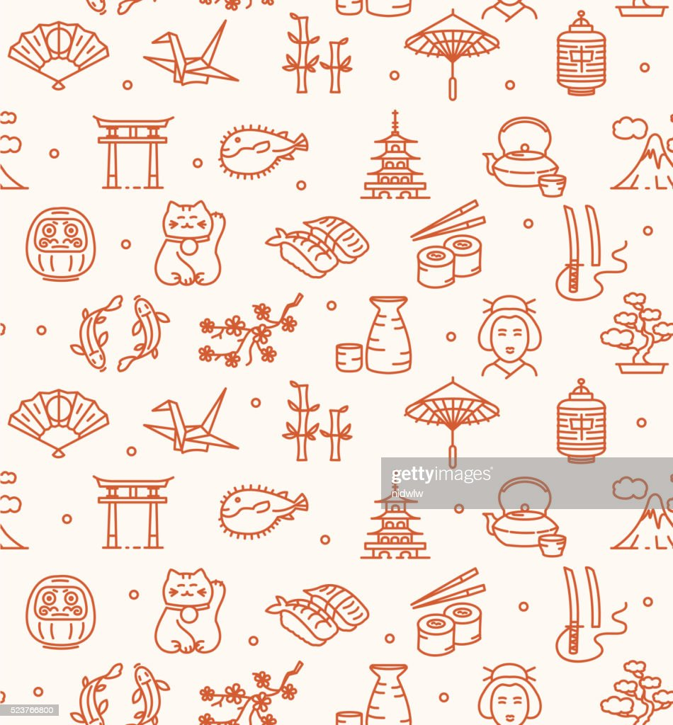 Japan Background Seamless. Vector