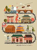 Japan bike travel map