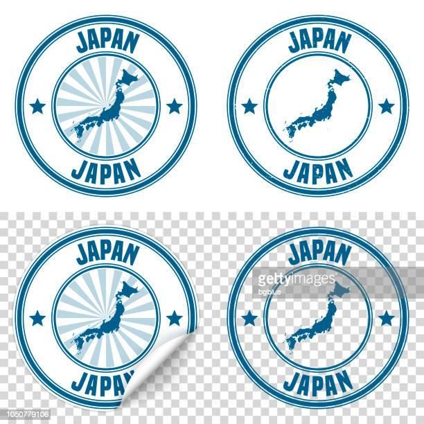 ilustraciones, imágenes clip art, dibujos animados e iconos de stock de japón - etiqueta engomada azul y sello con nombre y mapa - sea of japan or east sea