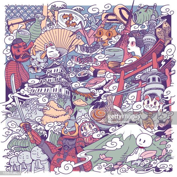 japan culture doodle - traditional clothing stock illustrations