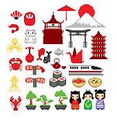 Japan culture icon set. Pixel art. Old school computer graphic. 8 bit video game. Game assets 8-bit sprite