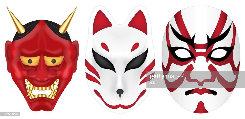 japan devil fox and labuki mask set