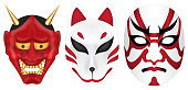 japan devil fox and labuki mask set