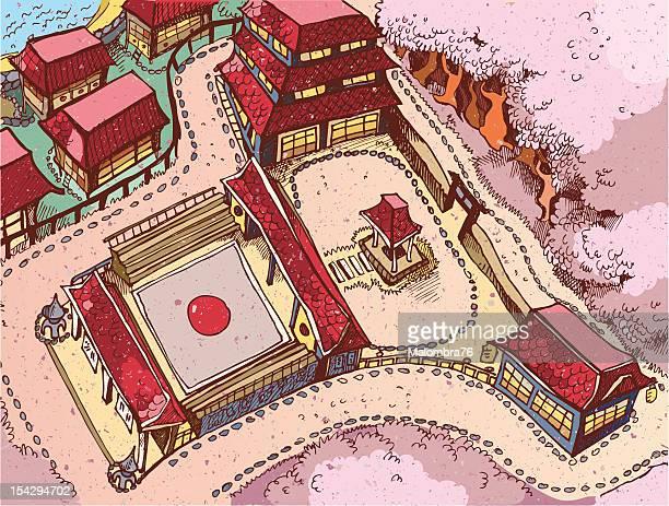illustrations, cliparts, dessins animés et icônes de japon dojo - cerisier japonais