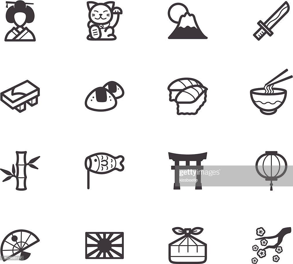 japan element vector black icon set on white background