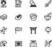 japan element vector black icon set on white background