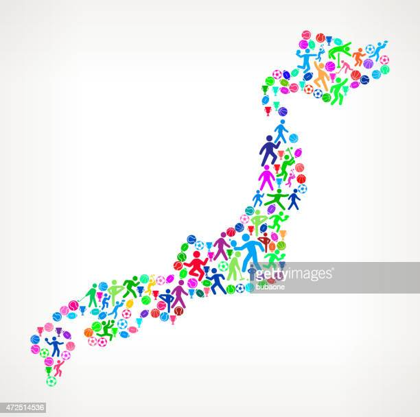 japan fitness sports and exercise pattern vector background - gymnastics stock illustrations
