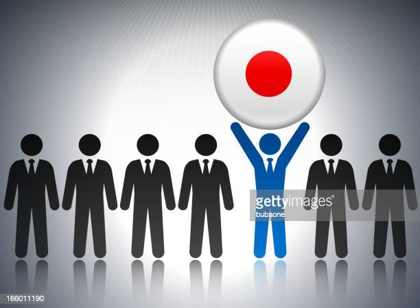 Japan Flag Button with Business Concept Stick Figures
