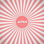 Japan Flag Sunburst Vector Background. Asian Japanese Flag with