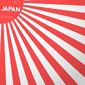 Japan Flag Vector Background. Retro Style Japan Flag Sunburst Ef