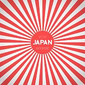 Japan Flag Vector Background. Retro Style Japan Flag Sunburst