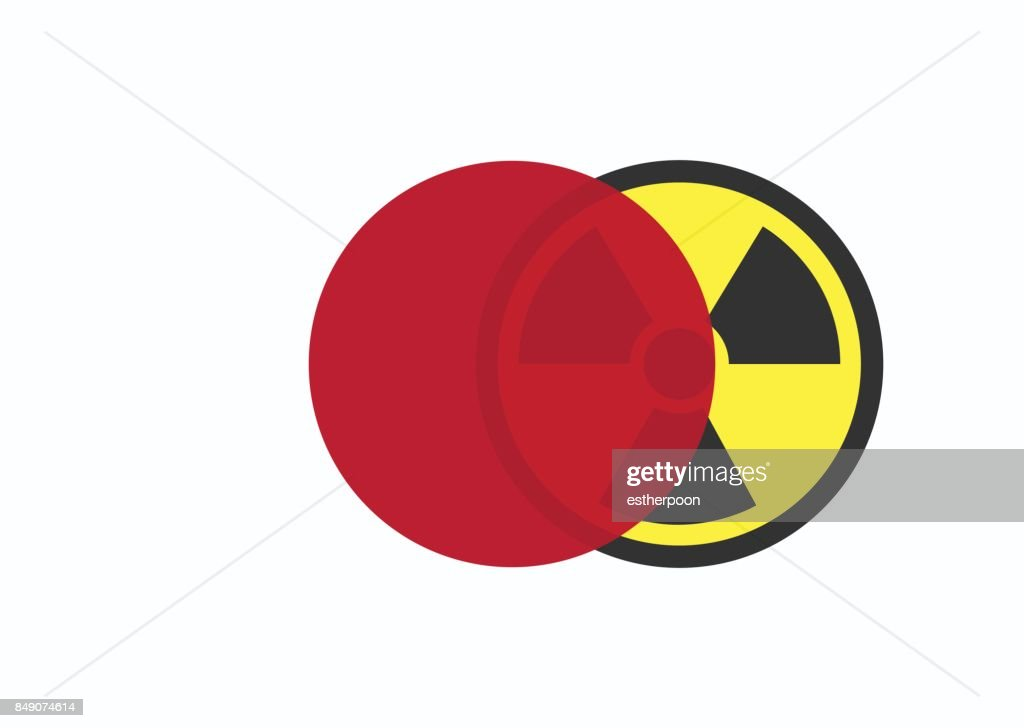 Japan flag with radiation sign