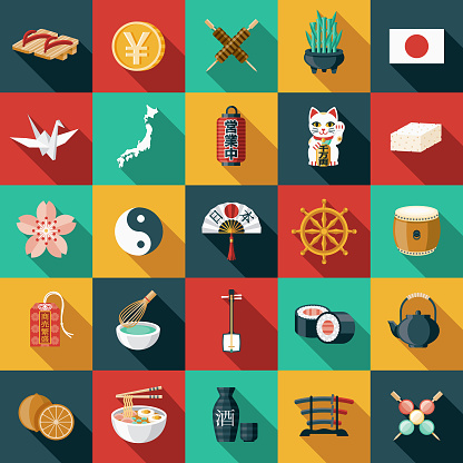 Japan Flat Design Icon Set - gettyimageskorea