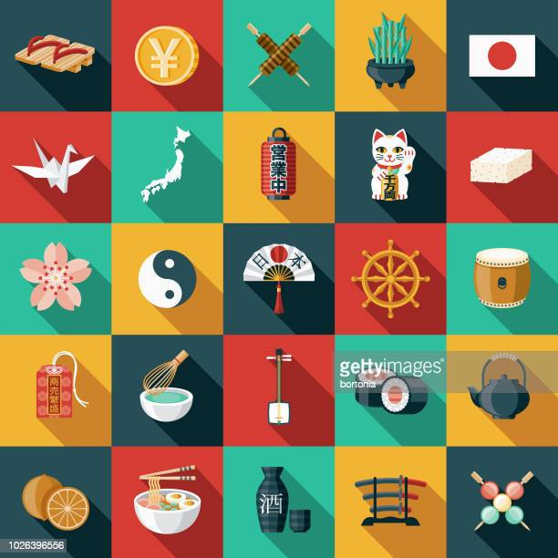 japan flat design icon set - figurine stock illustrations, clip art, cartoons, & icons