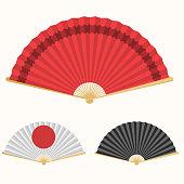 Japan folding fan. Japanese culture symbol. Hand paper fan set