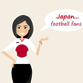 Japan football fans.Cheerful soccer fans, sports images.Young woman,Pretty girl sign.Happy fans are cheering for their team.Vector illustration
