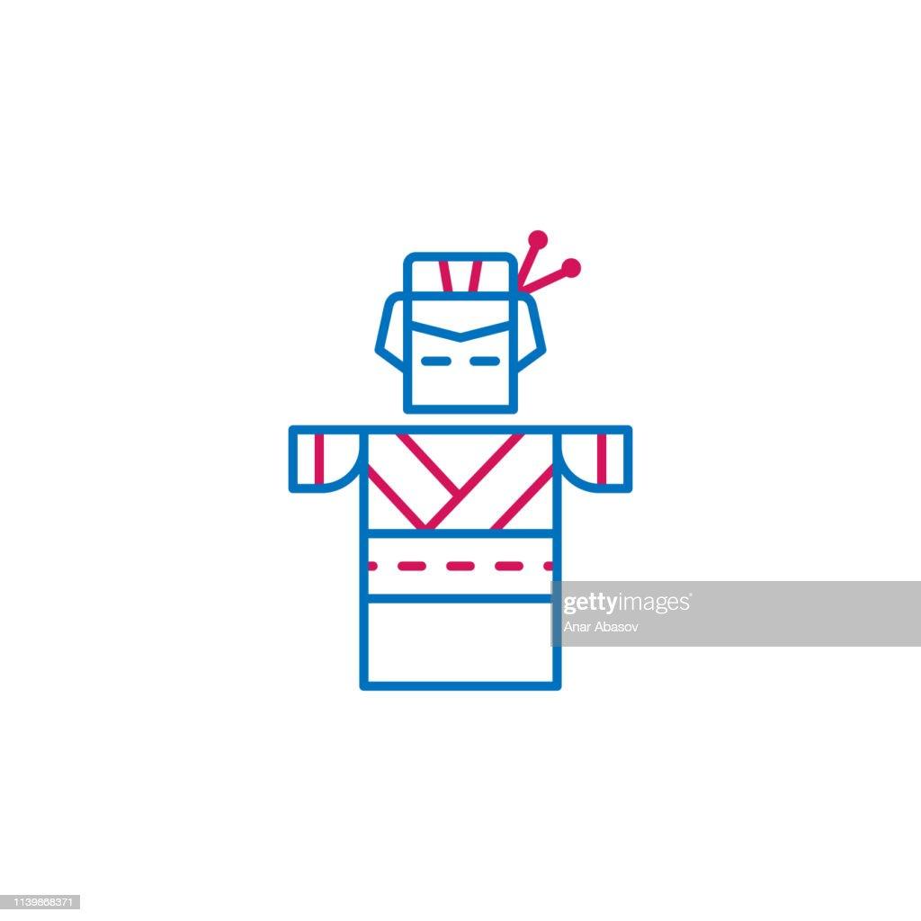 Japan, geisha icon. Element of Japan culture. Thin line 2 color icon for website design and development, app development. Premium icon