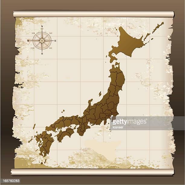 Japan grunge map on scroll