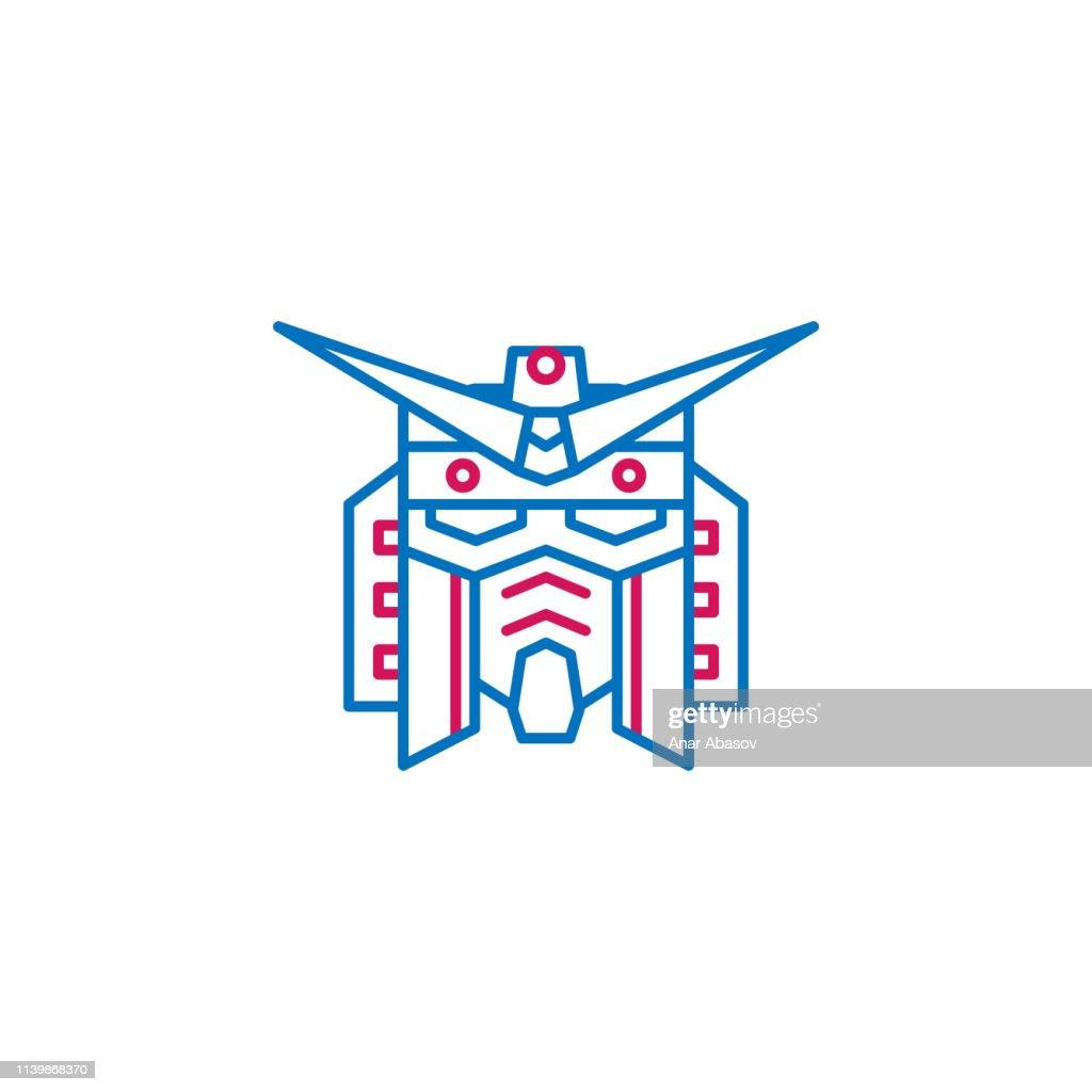 Japan, gundam icon. Element of Japan culture. Thin line 2 color icon for website design and development, app development. Premium icon