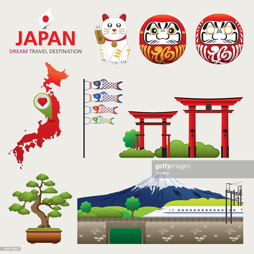 Japan Icons Design Travel Destination Concept, Japan icons