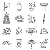 Japan icons set. Editable stroke