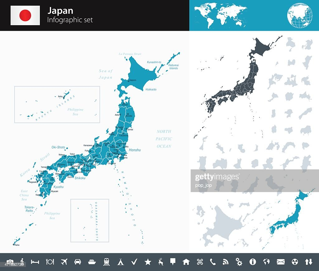 Japan - Infographic map - illustration : stock illustration