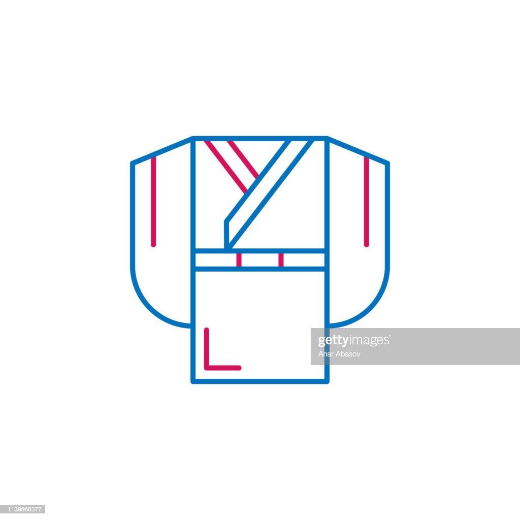 Japan kimono icon. Element of Japan culture. Thin line 2 color icon for website design and development, app development. Premium icon
