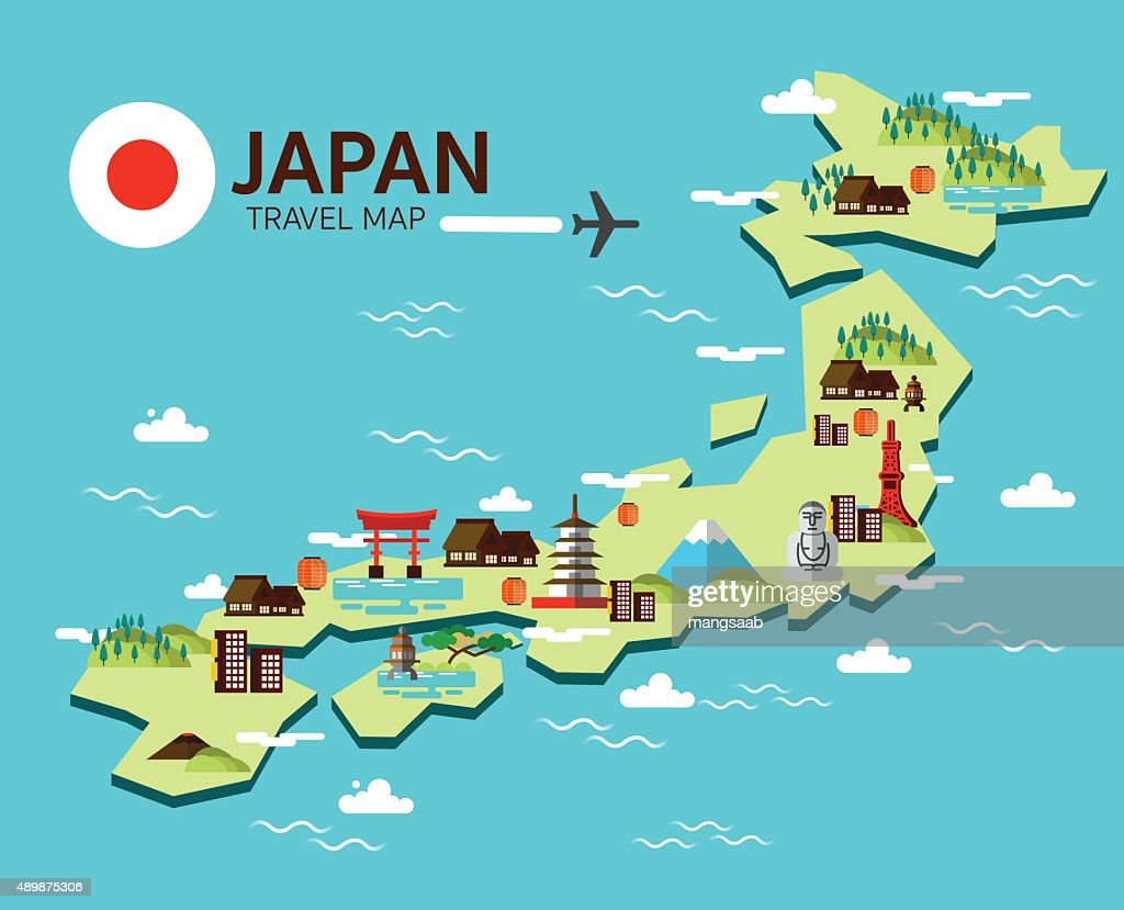 Japan landmark and travel map.