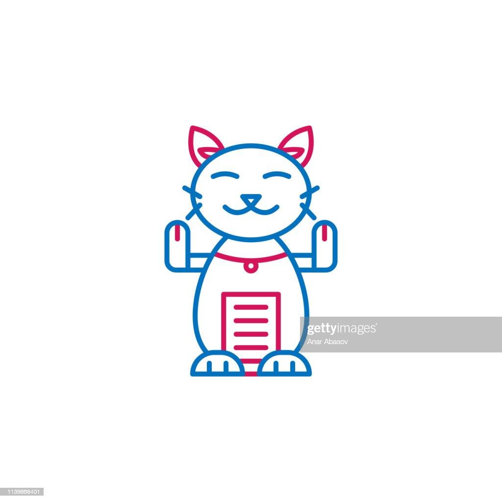 Japan, maneki neko icon. Element of Japan culture. Thin line 2 color icon for website design and development, app development. Premium icon