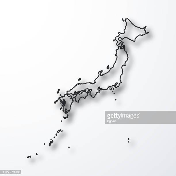 japan map - black outline with shadow on white background - sea of japan or east sea stock illustrations, clip art, cartoons, & icons