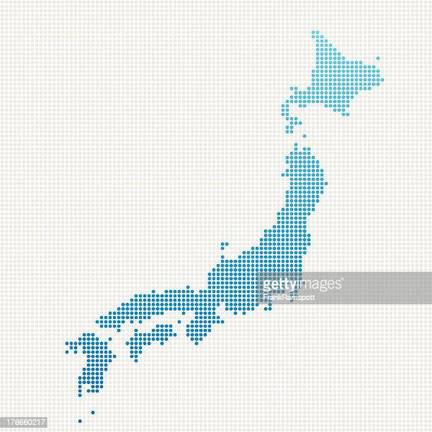 Japan Map Blue Dot Pattern