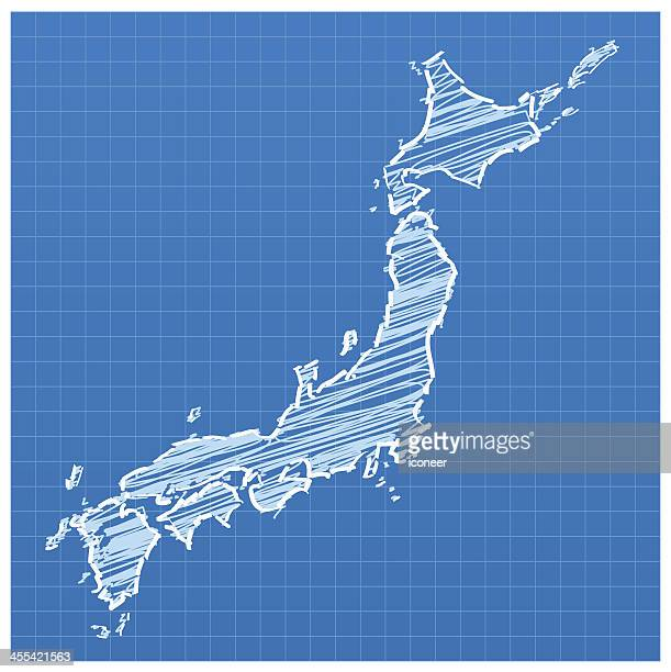 japan map blue sketched - shikoku stock illustrations, clip art, cartoons, & icons