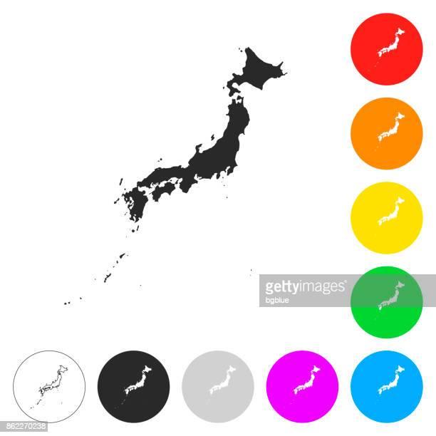 Japan Landkarte - flache Symbole auf verschiedenen farbigen Tasten