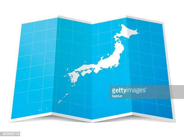 日本地図折り返し、白背景
