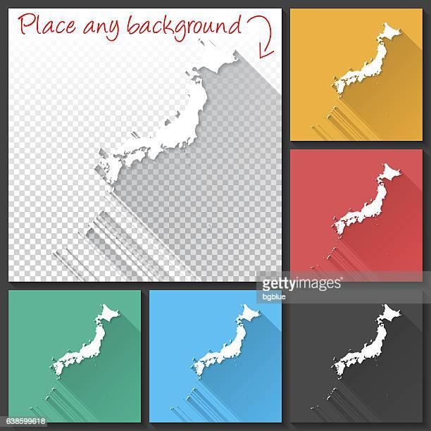 Japan Map for design, Long Shadow, Flat Design