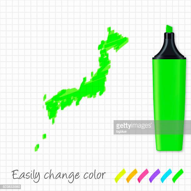 japan map hand drawn on grid paper, green highlighter - sea of japan or east sea stock illustrations, clip art, cartoons, & icons