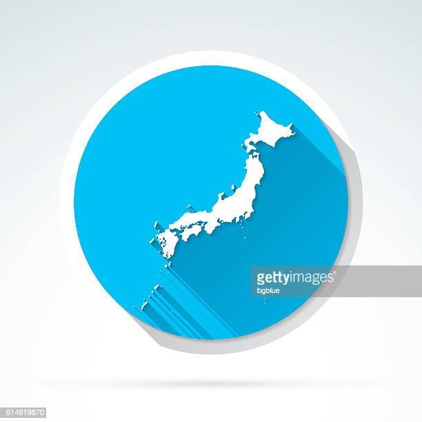 日本地図のアイコンとフラットなデザイン、長い影