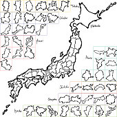 Japan map. Japanese prefectures. hand drawn illustration.