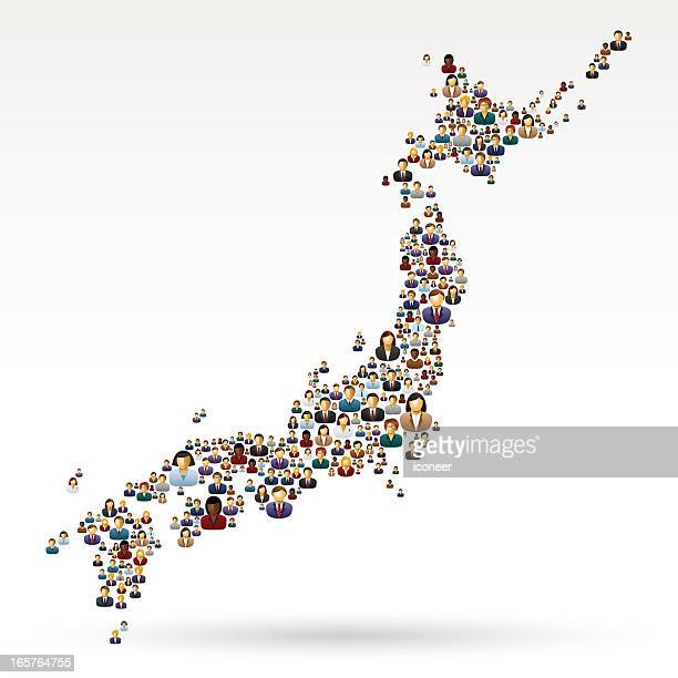 japan map made of business people - hokkaido stock illustrations, clip art, cartoons, & icons