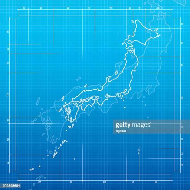 日本青写真を背景にした地図