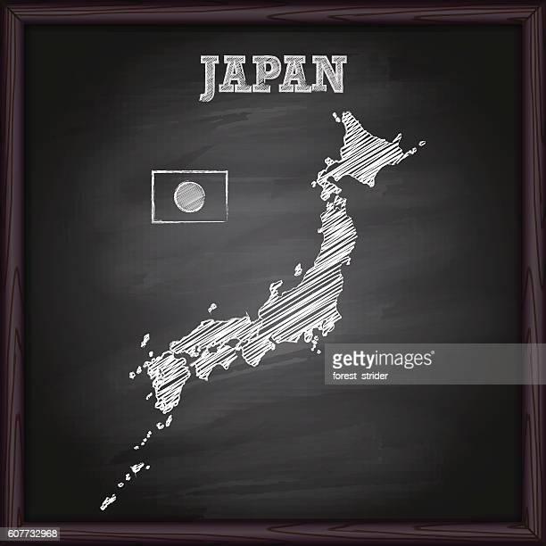 Japan map on chalkboard