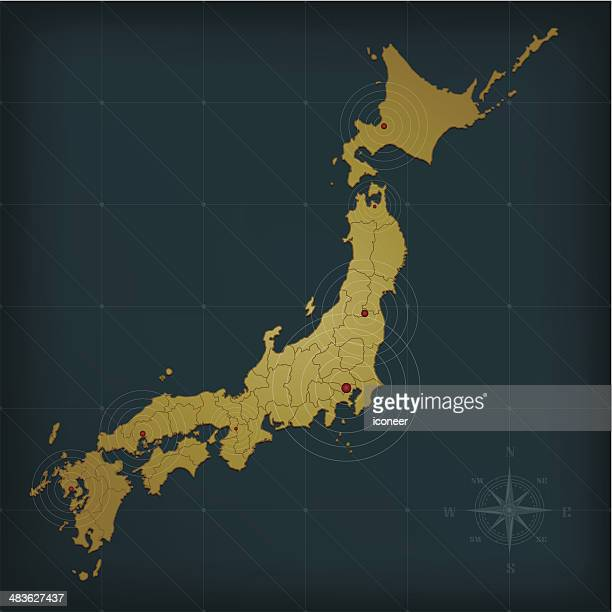 japan map on dark background with grid and markers - nagasaki city stock illustrations, clip art, cartoons, & icons