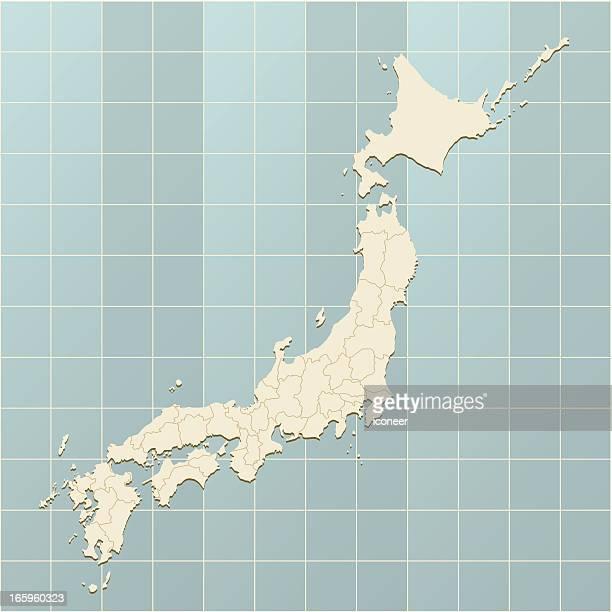 日本地図にグリッド