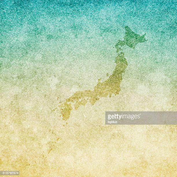 日本地図のグランジ背景の上のキャンバス