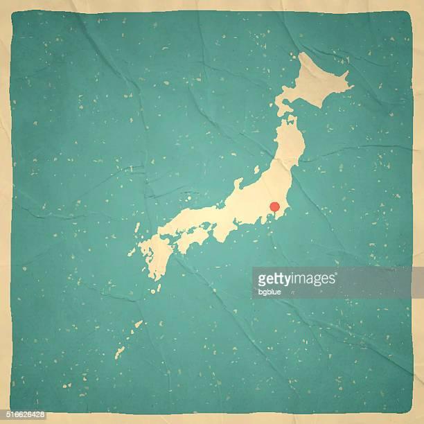 日本地図、古いヴィンテージ紙の質感