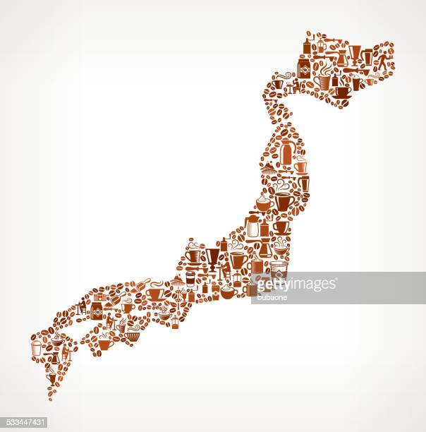 japan map royalty free vector coffee background graphic - only japanese stock illustrations, clip art, cartoons, & icons